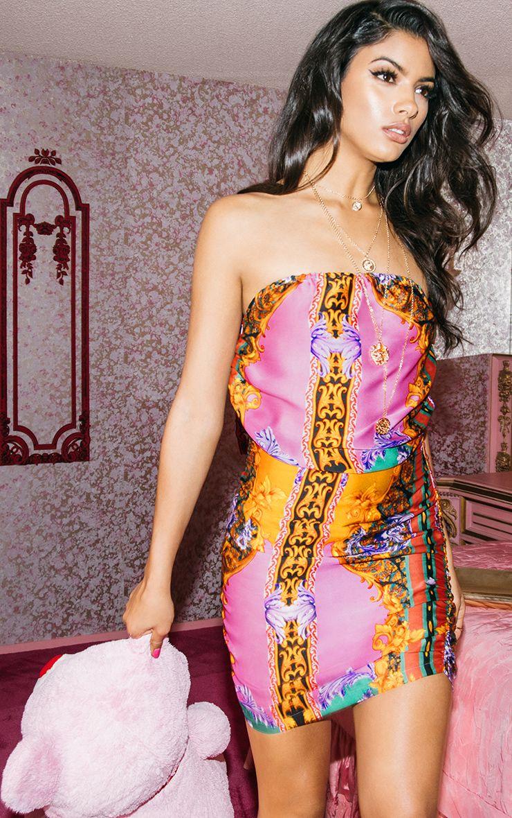 Lauretta Lilac Satin Scarf Print Bandeau Bodycon Dress