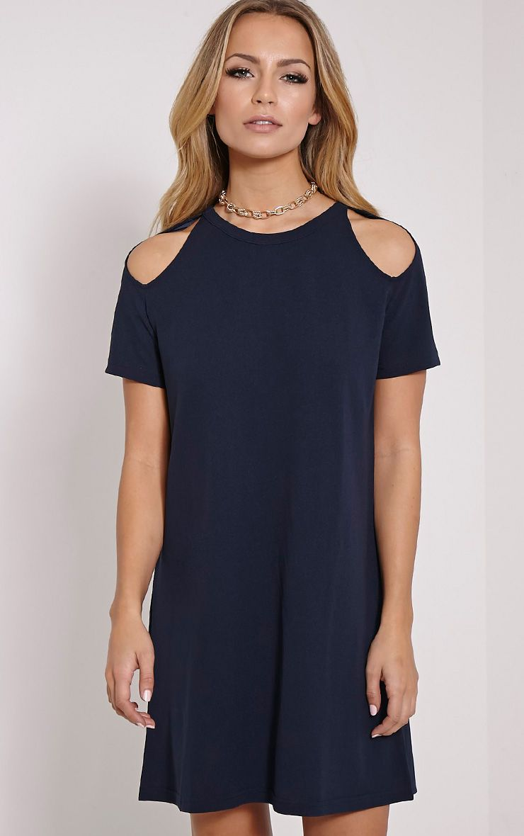 Sandie Navy Cold Shoulder Shift Dress