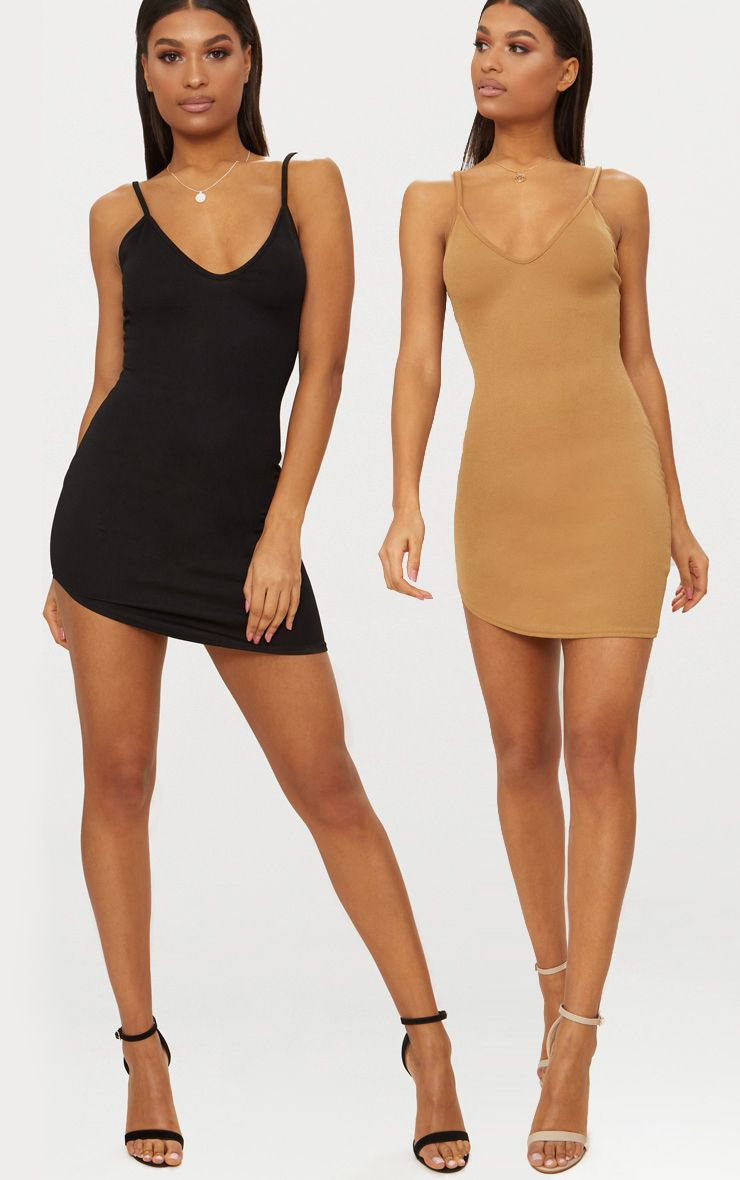Black & Camel 2 Pack Curved Hem Bodycon Dress