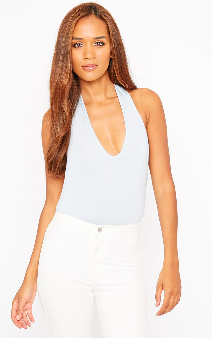 Basic Powder Blue Halter Neck Bodysuit 1