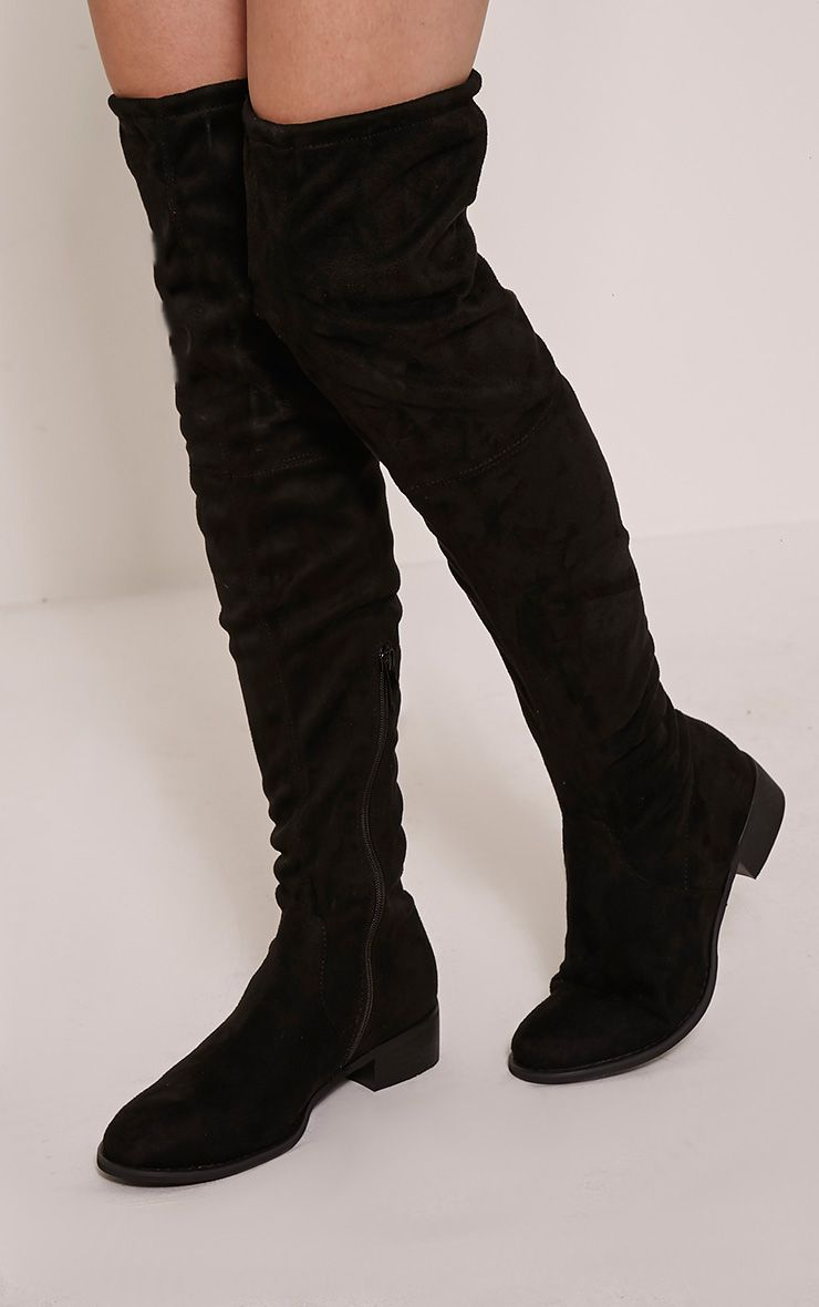 Elley Black Faux Suede Lace Tie Knee Boots 1