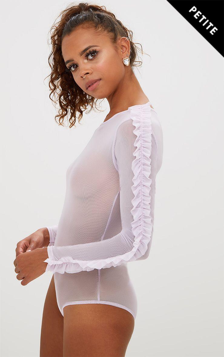 Petite Mauve Mesh Frill Sleeve Bodysuit