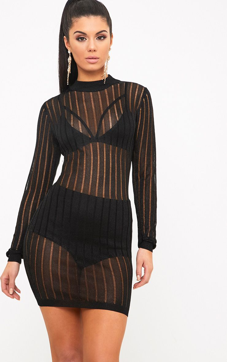Indigo Black Mesh Knit Bodycon Mini Dress