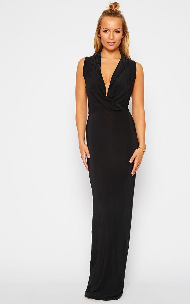 Rabia Black Ruched Cowl Maxi Dress 1