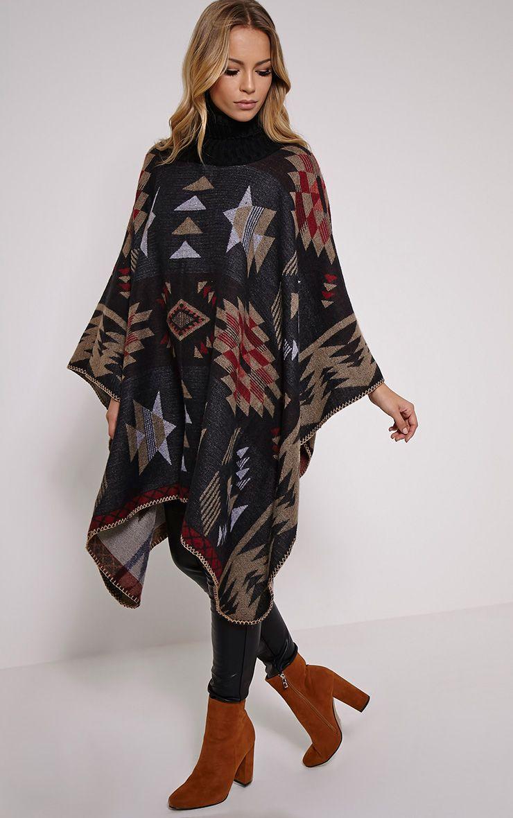 Jeska Black Knitted Neck Aztec Cape Black