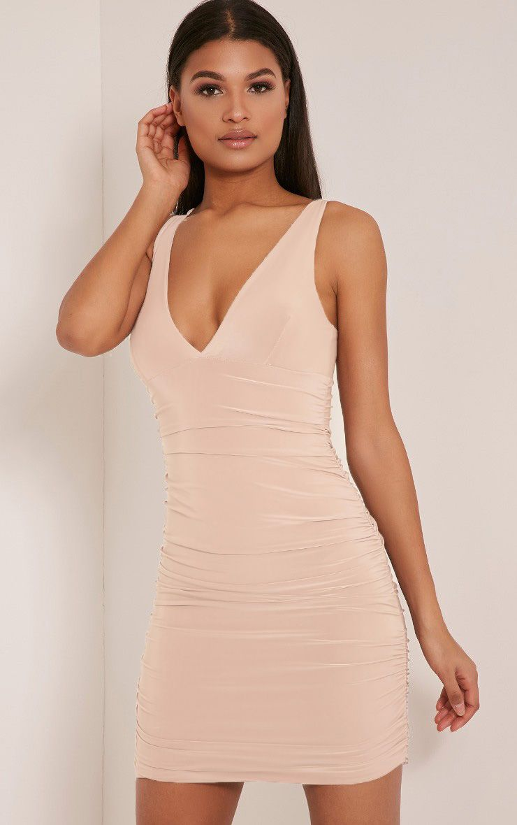 Agness Nude Cross Back Ruched Bodycon Dress 1