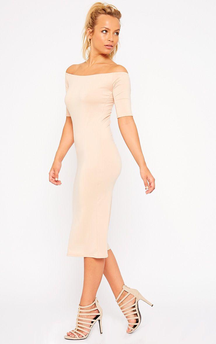 Roxie Nude Bardot Midi Dress 1