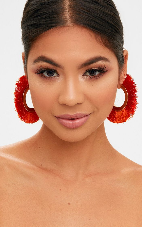 Orange Curved Tassel Earrings