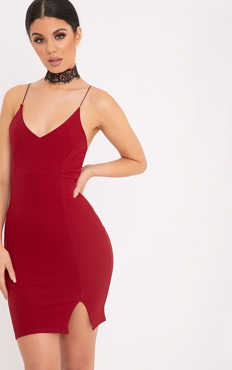 Camayah Burgundy Strappy Plunge Bodycon Dress  1