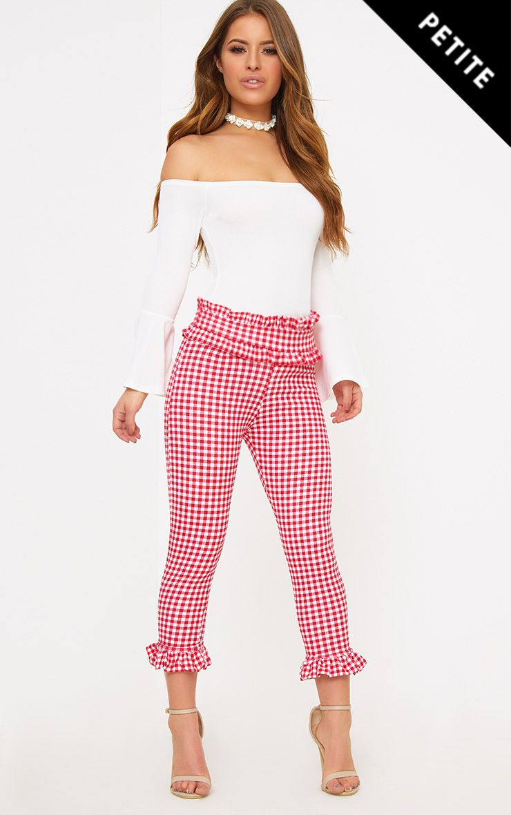 Petite Red Gingham Frill Hem Trousers