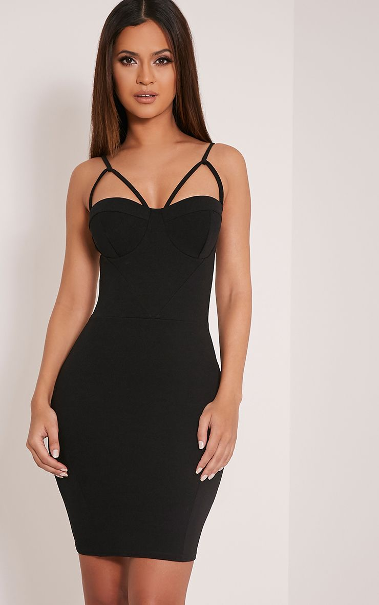 Carrie Black Crepe Panel Bodycon Dress