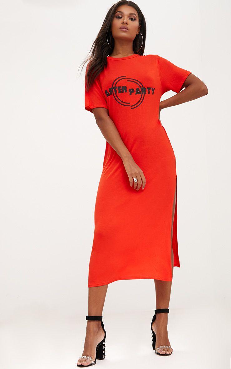 Orange After Party Midaxi T Shirt Dress