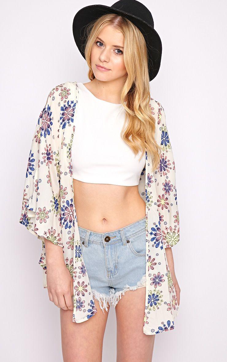 Zoey Cream Print Kimono  1