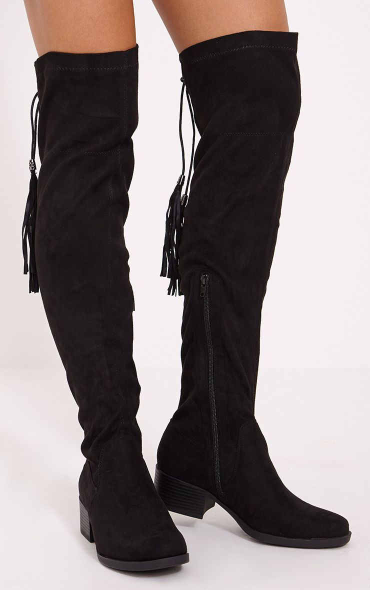 Tracey Black Faux Suede Tassel Thigh Boots 1