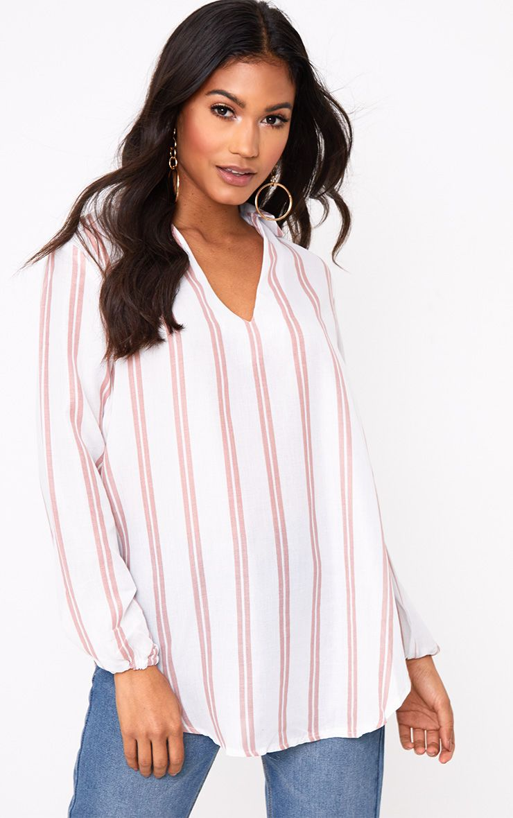 White Oversized Pink Stripe Shirt